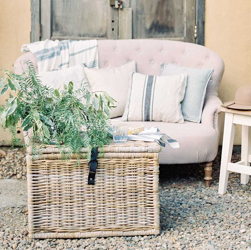 Wicker Chest Coffee Table Bliss Willow Wedding Styling
