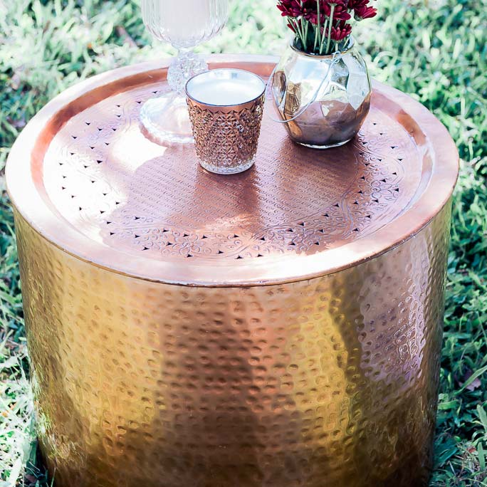 Copper Drum Coffee Table Bliss Willow Wedding Styling - Copper drum coffee table